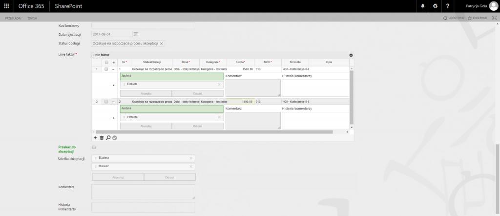 microsoft dynamics crm sharepoint intersys faktura akceptacja system dms