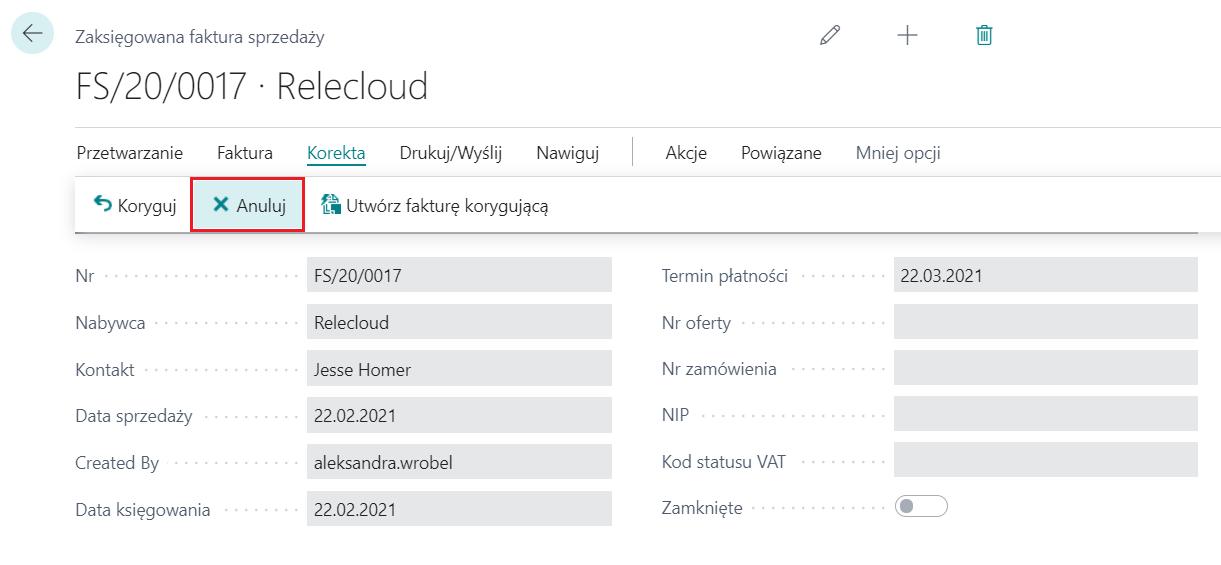 Wycofanie zaksięgowanej faktury sprzedaży i faktury zakupu w Microsoft Dynamics 365 Business Central