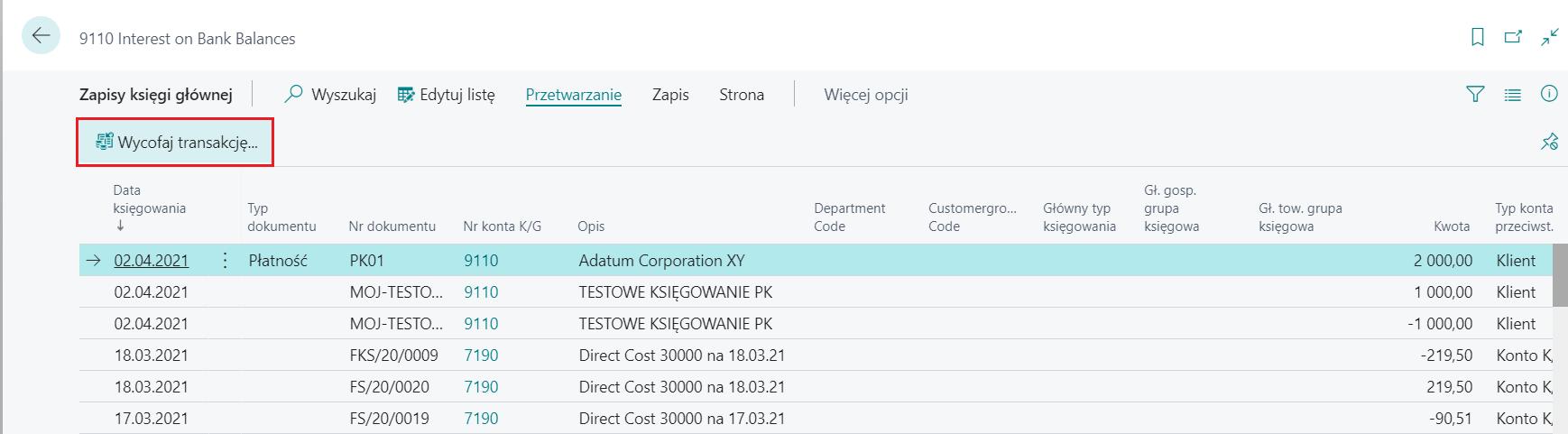 Wycofanie zaksięgowanego PK i transakcji księgowych w Microsoft Dynamics 365 Business Central