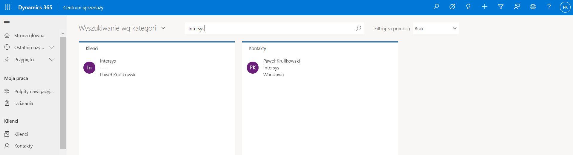 Wyszukiwanie według stopnia zgodności w Microsoft Dynamics 365