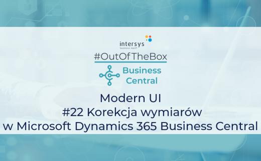 Korekcja wymiarów w Microsoft Dynamics 365 Business Central