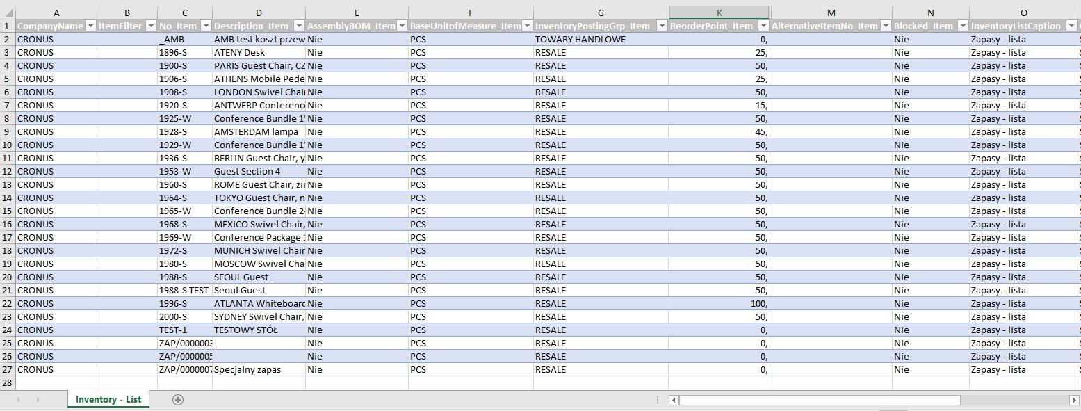Zarządzanie funkcjami & Eksport surowych danych do Excel'a